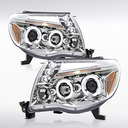Autozensation For Toyota Tacoma Chrome Clear Dual Halo LED Projector Headlights