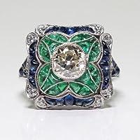 A.Yupha Fashion Ring : Fashion 925 Silver Blue Sapphire White Topaz Ring Wedding Bridal Women Jewelry (7)