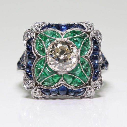 A.Yupha Fashion Ring : Fashion 925 Silver Blue Sapphire White Topaz Ring Wedding Bridal Women Jewelry (Topaz Sterling Silver Cocktail)