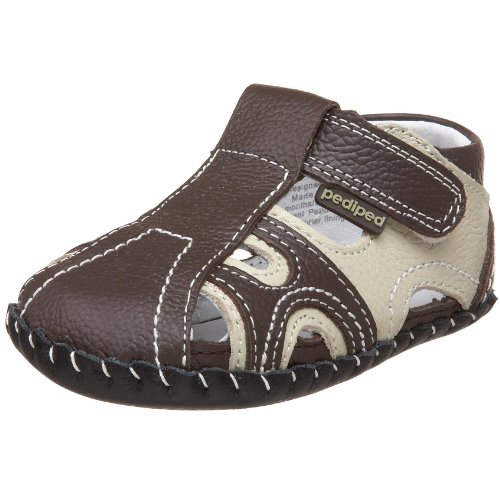 pediped Originals Brady Crib Shoe (Infant),Brown/Khaki,Medium (12-18 Months)