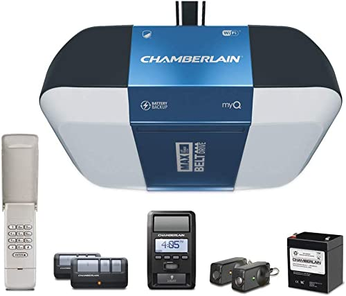 Chamberlain Group B1381 Bright LED Lighting Smartphone-Controlled Ultra-Quiet and Strong Belt Drive Garage Door Opener