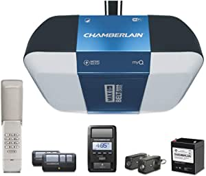 Chamberlain Group B1381 Bright LED Lighting Smartphone-Controlled Ultra-Quiet and Strong Belt Drive Garage Door Opener with Battery Backup and Max Lifting Power, 1.25 hp, Blue