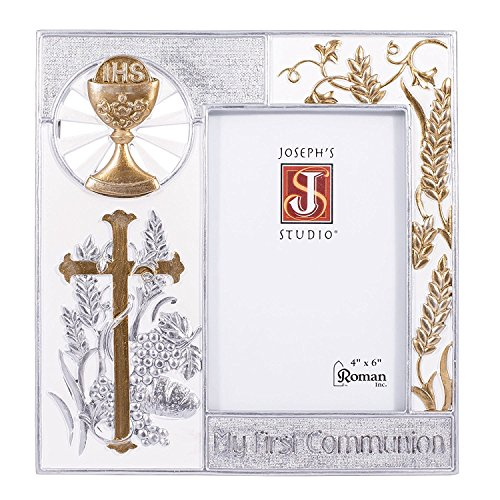 """8"""" Resin My First Communion Photo Frame with Gold and Silver Finish"""