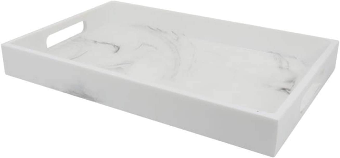 Epoxy Resin Tray with Handle,Marble Design,Serving Tray, Great for Breakfast Trays ,Tea Tray Or Any Food Tray,Ideal for Coffee, Dessert 100% Handmade