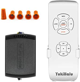 YUKIHALU 3-in-1 Small Size Universal Ceiling Fan Remote Control Kit, 4 Countdown Timing 4 Fan Speeds and Light ON/Off, Wireless Remote and Receiver Kits for Ceiling Fan Lamp
