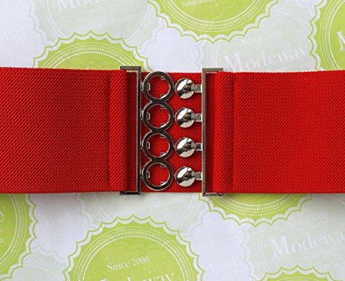 """Modeway Women 3""""Fashion Wide Belt Elastic Stretch Waist Belt , Metal Buckle Waistband (XL-XXL,Red)A1-3"""