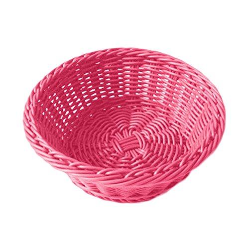 Garcia de Pou 12 Unit Basket Imitation Wicker Round in Box, 20 x 8 cm, Polypropylene, Pink, One Size