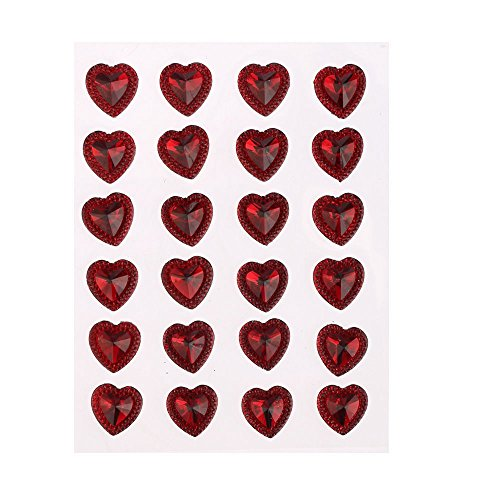 CraftbuddyUS 24 x 16mm Self Adhesive Pointed Resin Red Hearts Stick on Gems ()