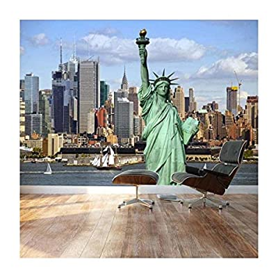 Statue of Liberty Looking Over The New York City Skylines by The Shore - Landscape - Wall Mural, Removable Sticker, Home Decor - 66x96 inches