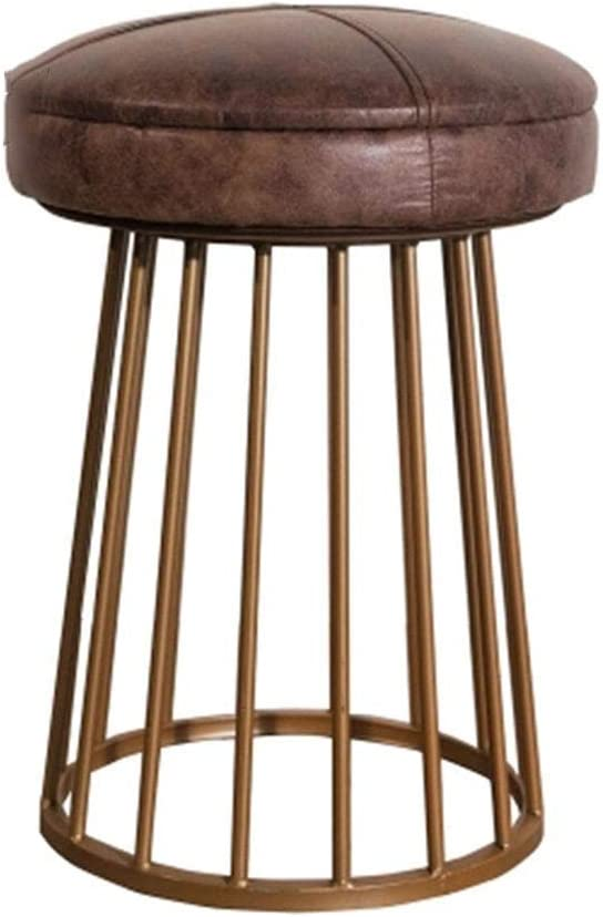 ZXYY Reposapiés, Taburete de Bar de Metal Envejecido rústico Industrial Antiguo Americano/otomanos Base de Hierro Fundido Círculo/Cuadrado (Cuero Unido marrón) (Color: C)