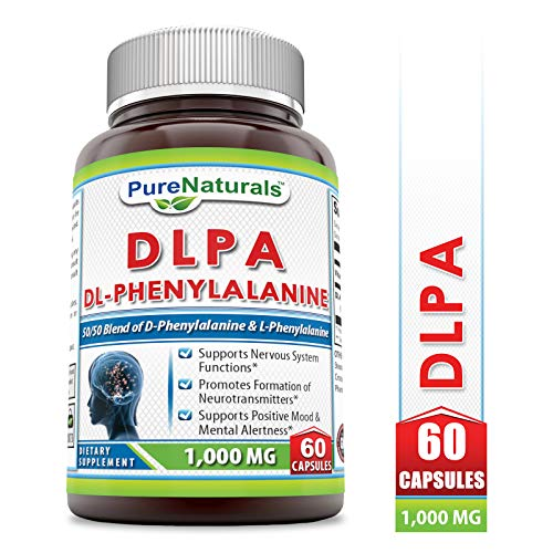 Pure Naturals DLPA (DL-Phenylalanine), 1000 mg, 60 Capsules -Supports Nervous System Functions, Positive Mood & Mental Alertness -Promotes Formation of Neurotransmitters