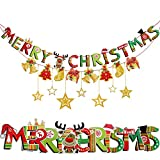 2018 Christmas Banner Set (Pre-Strung) Merry Christmas Banner With Gold Stars Gold Foil Swirls