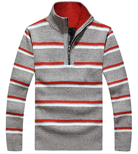 amp;S Pullover 1 Zip Men's Strip Winter Print M Half Sweater amp;W Pdwqfx1