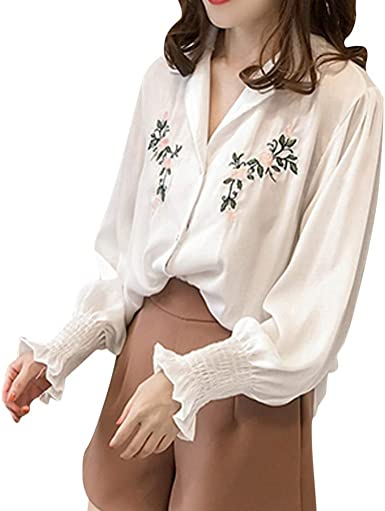 Vectry Camisa Mujer Moda Mujer Top Bordado Manga Larga Solapa Camisa Casual Blusa Suelta Camisa Otoño Verano Playa Y Fiesta: Amazon.es: Ropa y accesorios