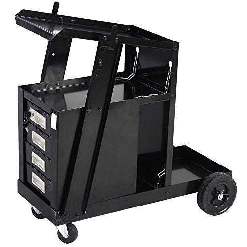 Z ZTDM Welding Welder Cart MIG TIG ARC Universal Equipment Trolley Plasma Cutter Tank Tool Storage with Silent Wheels&4 Drawer,Removable,Portable-Black