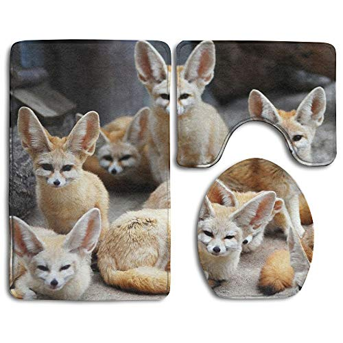Non Slip Absorbent Water Bathroom Rug Toilet Sets, Cute Fennec Fox Animal Fashion Bathroom Rug Mats Set 3 Piece Anti-Skid Pads Bath Mat + Contour + Toilet Lid Cover