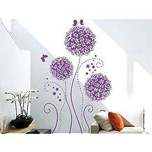Salesland Home Decoration Vinyl Wall Sticker Decals Mural Art Purple Butterflies and Blossoms