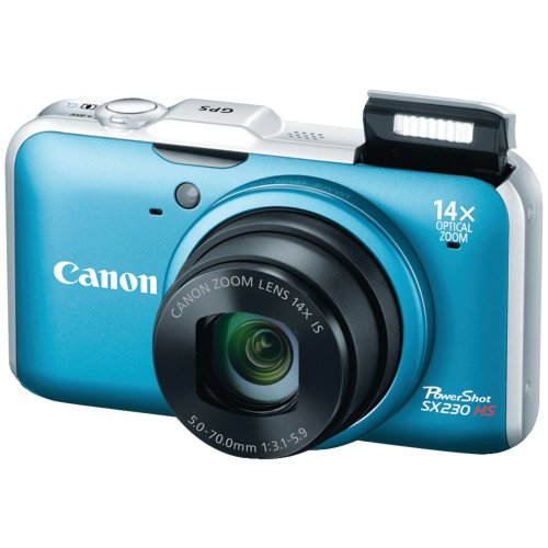 Canon PowerShot SX230 HS 12.1 MP CMOS Digital Camera with 14x Image Stabilized Zoom 28mm Wide-Angle Lens and 1080p Full-HD Video (Blue) (OLD MODEL) ()