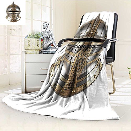(YOYI-HOME Super Soft Duplex Printed Blanket of The Medieval Knight Heavy Headdress Tournament Tradition Design Art Silver Gold Anti-Static,2 Ply Thick,Hypoallergenic/W59 x H79)