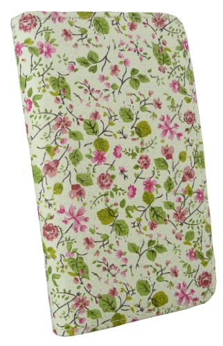 Emartbuy® Sparkling Stylus Pack Para LG Optimus L7 II P710 Lujo Caja De La Carpeta / Cubierta / Bolsa Floral Con Ranuras Para Tarjetas De Crédito + Sparkling Mini Hot Rosa Stylus + Protector De Pantal