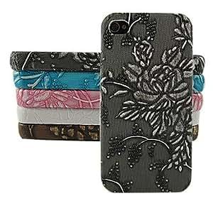 MOFY- uva y flor patr—n de dise–o del estuche r'gido para el iphone 4 / 4s (colores surtidos) , Rosa