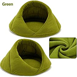sevenTimes Winter Warm Dog Bed Pet Dog House Lovely Soft Suitable Cat Dog Bed House for Cat and Small Large Dogs Teddy Kennel,Green,M