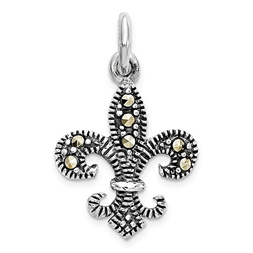 (Mireval Sterling Silver Marcasite Fleur De Lis Pendant (approximately 14 x 14 mm))