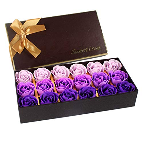 StyleZ 18PCS/Set Rose Flower Petals Shaped Plant Essential Oil Soap Floral Scented Bath Soap, Ideal gift for Mother's Day/Anniversary/Birthday/Wedding to Lady Women Girl (Purple) ()