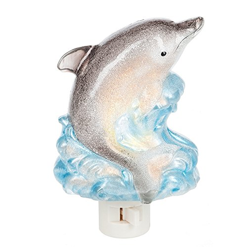 - Jumping Dolphin Wave 3.5 x 5.5 Inch Acrylic Decorative Plug In Wall Night Light