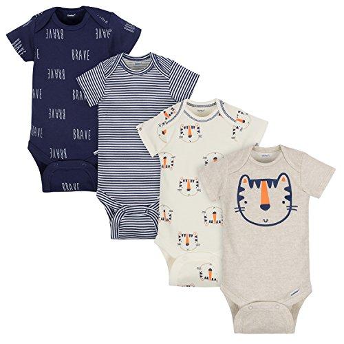 Gerber Baby Boys 4-Pack Short-Sleeve Onesies Bodysuits, Tiger, 18 Months by Gerber