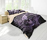 FAITOVE Black Skull Microfiber 3pc 90''x90'' Bedding Quilt Duvet Cover Sets 2 Pillow Cases Queen Size