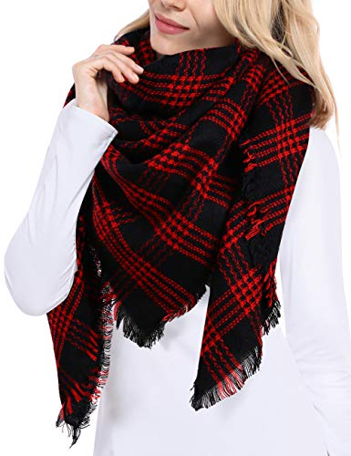 Bess Bridal Women's Plaid Blanket Winter Scarf Warm Cozy Tartan Wrap Oversized Shawl Cape (One Size, Red and Black)