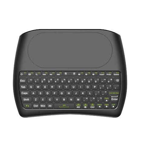 Festnight 2.4 GHz Mini Teclado inalámbrico Pantalla Completa Mouse Touchpad Control Remoto de Mano con retroiluminación