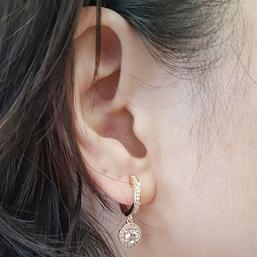 10K Rose Gold Round Morganite & White Diamond Ladies Halo Style Dangling Drop Earrings by DazzlingRock Collection (Image #4)