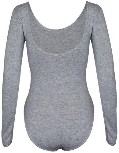 Grigio Body unita lunghe automatici donna a in tinta maniche da rotondo elasticizzato chiusura bottoni chiaro scollo con in tessuto BRIwqBWrT