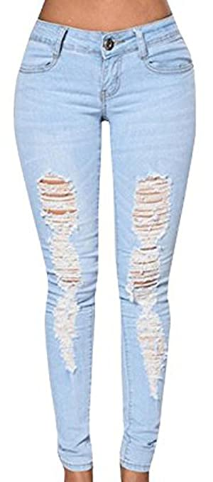 Dellytop Women's Blue Denim Stretch Jeans Destroy Skinny Ripped Distressed Pants, Blue, Large