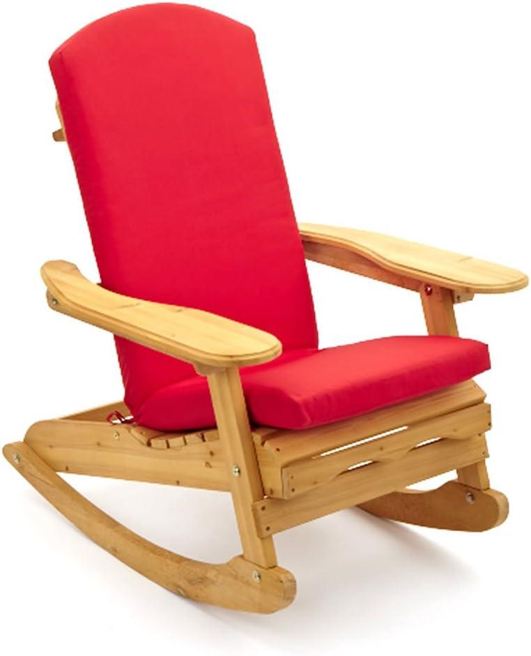 Silla mecedora de jardín Estilo Adirondack & Bowland & quot; Con cojín de lujo en rojo: Amazon.es: Hogar