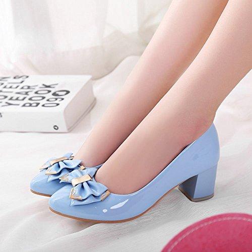Charm Foot Womens Fashion Bows Chunky Mid Heel Pump Shoes Blue BvVEsI2tI
