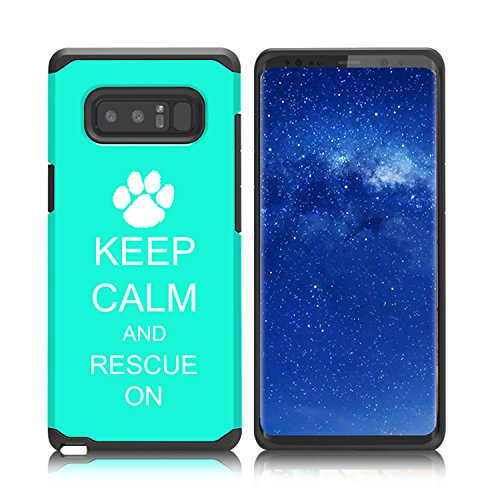 For Samsung Galaxy (Note 8) Shockproof Impact Hard Soft Case Cover Keep Calm And Rescue On Animal Dogs Paw Print (Teal)