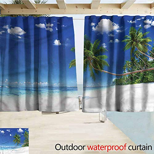 Black Matte Finials Clouds - MaryMunger Balcony Curtains Ocean Lagoon Palm Leaf Clouds Blackout Draperies for Bedroom W72x63L Inches