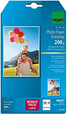 SIGEL IP718 InkJet Fotopapier 10x15 cm, 20 + 4 Blatt gratis, hochglänzend, weiß, 200 g