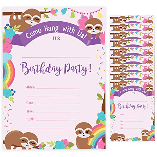 Sloth Style 1 Happy Birthday Invitations Invite Cards (10 Count) With Envelopes Boys Girls Kids Party (10ct)