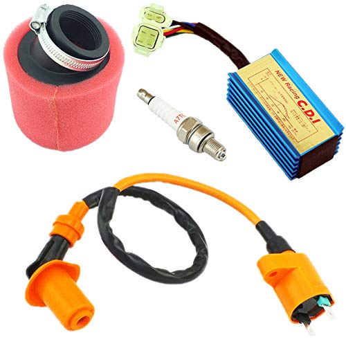Yingshop Performance Ignition Coil + CDI + Spark Plug + 39mm Red Air Filter GY6 50cc - 150cc 4-stroke Horizontal Engine Scooter ATV Go Kart Moped Quad Go Kart Pit Dirt Racing Bike 139QMB 152QMI 157QMJ (Racing Horizontal Engines)