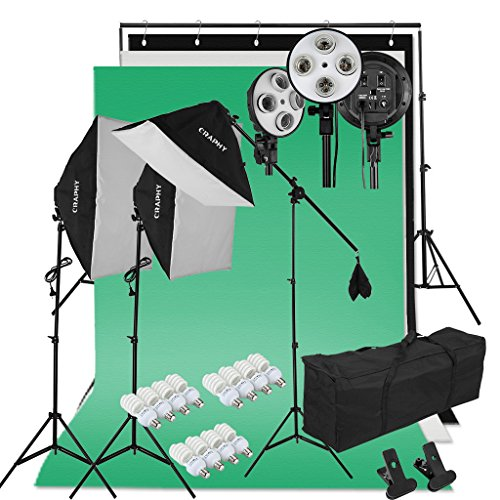 Craphy 5500k Photography Continuous Softbox Lighting Kit for Portrait Photography, Studio and Video Shooting (Light Stand, E27 Light Holder, 45w Lamp, White/Back/Green Backdrops, Portable Bag)
