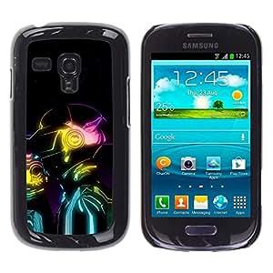 TECHCASE**Cubierta de la caja de protección la piel dura para el ** Samsung Galaxy S3 MINI NOT REGULAR! I8190 I8190N ** Robot Ai Future Neon Colors Art Man Portrait