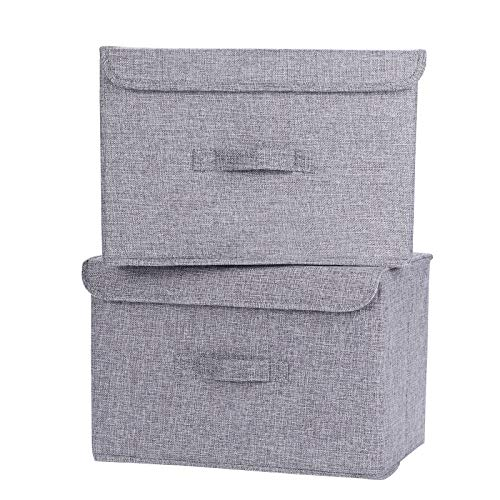 HOKEMP Large Storage Bins with Lids [2-Pack] - Linen Fabric Foldable Storage Box Baskets for Home, Office, Nursery, Closet (Gray)