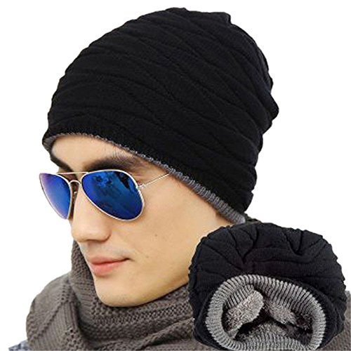 Knit Hat Skull Cap - Loritta Mens Winter Warm Knitting Hats Wool Baggy Slouchy Beanie Hat Skull Cap