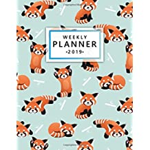 Weekly Planner 2019: Cute Red Panda Bamboo Weekly and Monthly Planner Yearly Schedule Organizer Journal Agenda Notebook (January 2019 - December 2019)