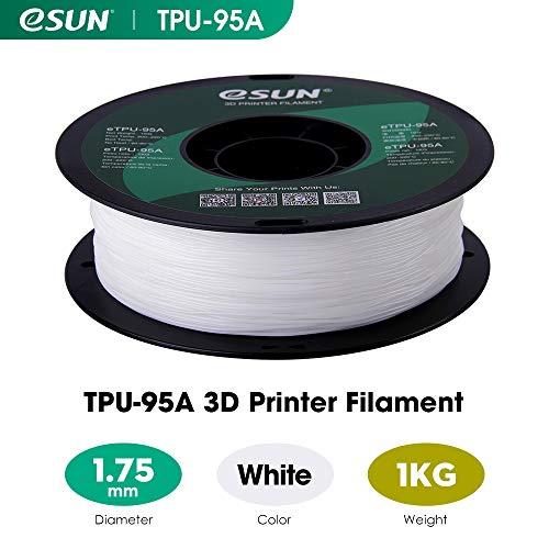 precisi/ón de +//- 0,05 mm Filamento flexible para impresoras 3D de TPU peso neto 1 kg color natural transparente 1,75 mm