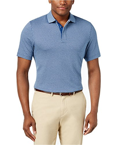 Tasso Elba Men's Jacquard Polo Shirt (Small, Blue Combo)